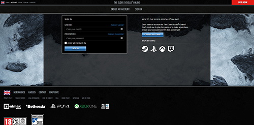 Elder Scrolls Online Activation Login Page