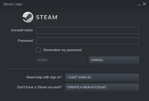 Steam Login Prompt